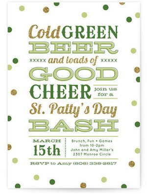 Green Beer Good Cheer St Patricks Day Party Invitations