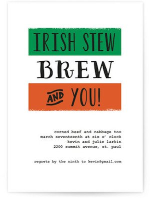 Irish Stew St Patricks Day Party Invitations
