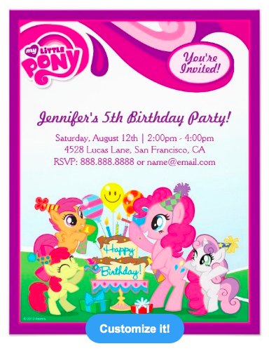 My Little Pony Invitations Birthday Party Custom Announcement