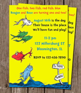 One Fish, Two Fish Birthday Invitation