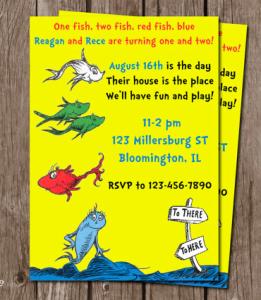 One Fish, Two Fish Birthday Invitation