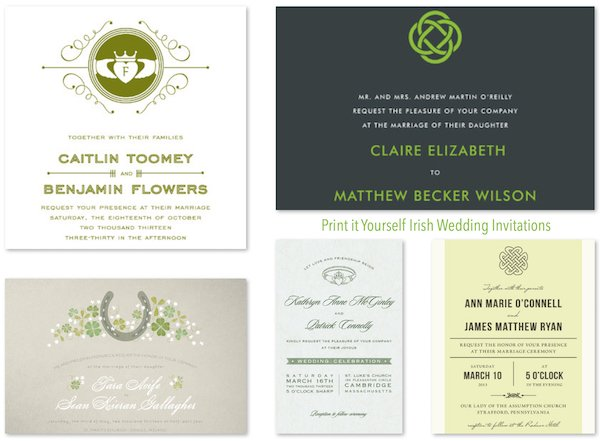 Print It Yourself Irish Wedding Invitations