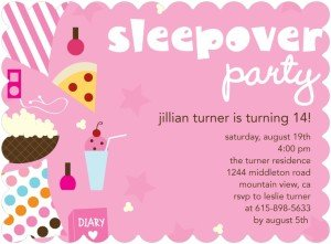 SLEEPOVER STYLE BIRTHDAY PARTY INVITATIONS