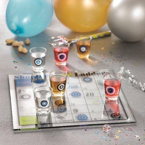 Shot Glass Shoots and Ladders Bar Game Set