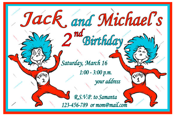 Thing 1 and Thing 2 Birthday Invitation Dr Seuss Invitation. Customized Dr. Seuss Invitations ...