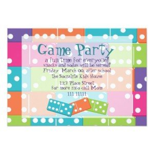 kid dominoes invitations
