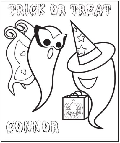 Free HALLOWEEN GHOSTS COLORING PAGE
