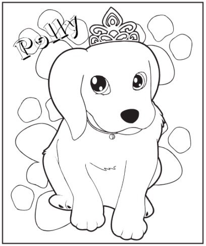 PRINCESS PUPPY COLORING PAGE