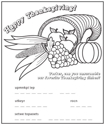 Free THANKSGIVING CORNUCOPIA COLORING and Activity PAGE