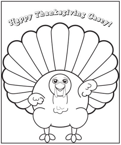 Free THANKSGIVING TURKEY COLORING PAGE