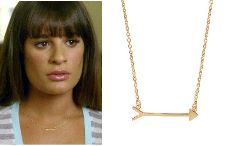 Lea Michele wearing Stella & Dot On the Mark arrow necklace