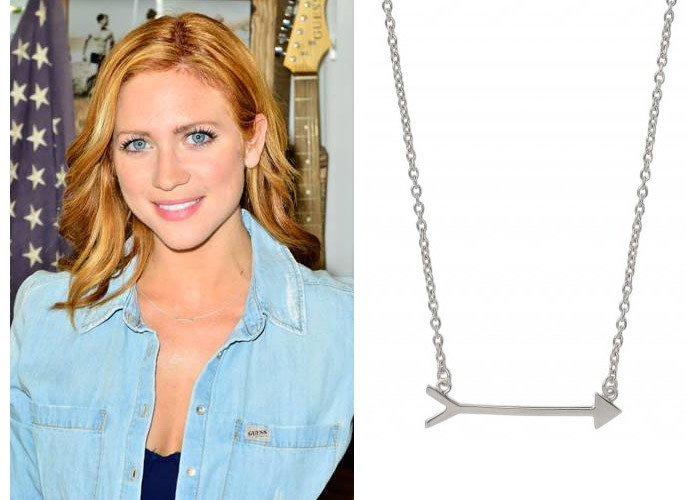 Brittany Snow wearing Stella & Dot On the Mark arrow necklace