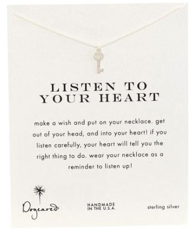 Dogeared Sterling Silver Heart Key Pendant