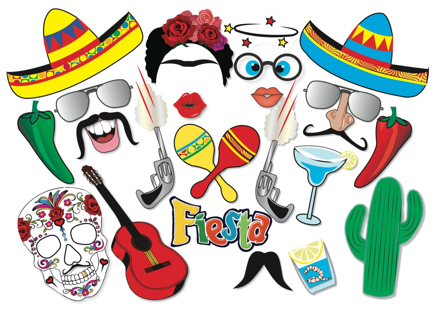 Cinco de Mayo Mexican Fiesta Party Printable Photo Booth Props