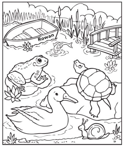 Free DOWN AT THE POND COLORING PAGE