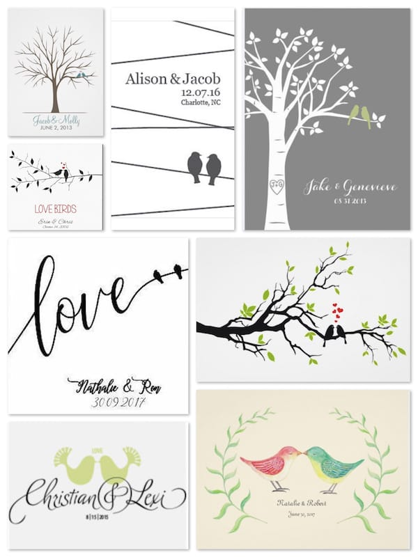 Love Birds Wedding Art Sign in Boards