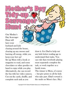 Mother's Day Scavenger Hunt Tidy Up Game, Printable Games for Mother's Day