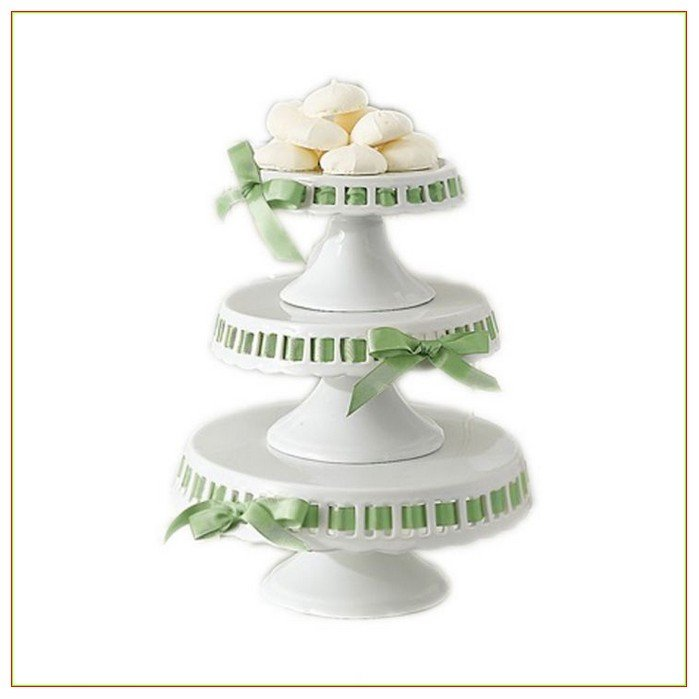 Ceramic White Cake Plates With Green Ribbon, Beautiful Tabletop Accessories