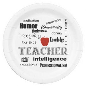 teacher pride red apple paper plate