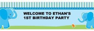 Blue Elephants Personalized Banner