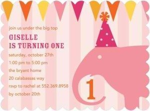 Circus Chic  Elephant Birthday Party Invitation