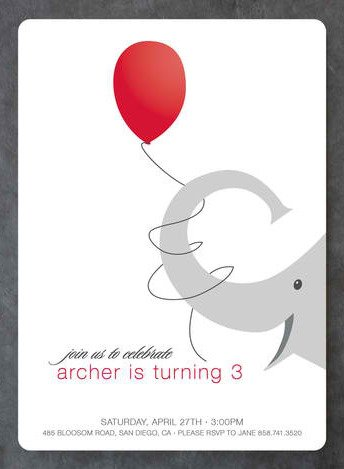 Elephant Balloon Kids Birthday Party Invitation