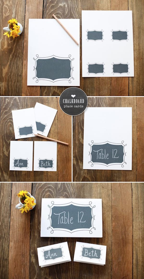 Free Printables Chalkboard Place Cards - weddingchicks