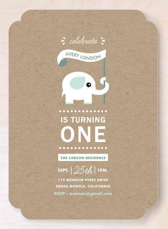 One-derful Elephant Childrens Birthday Party Invite