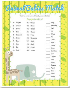 Printable Babies Match Game