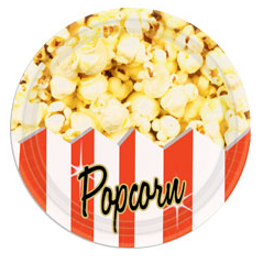 "Movie Theater Popcorn 9"" Paper Plates"