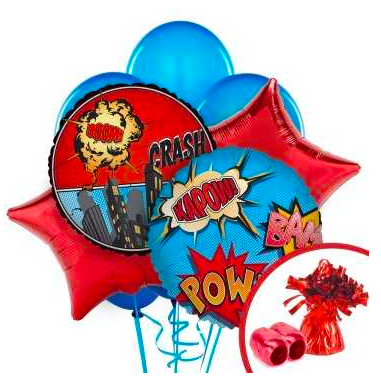 Superhero Comic Balloon Bouquet Set