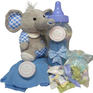 Sweet Baby Boy Saving Bank Set with Plush Elephant