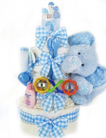 The Cashmere Bunny Gingham & Giggles Diaper Cake
