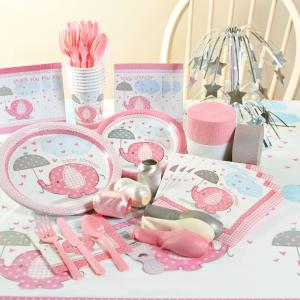 Umbrellaphants Pink Baby Shower Deluxe Party Pack