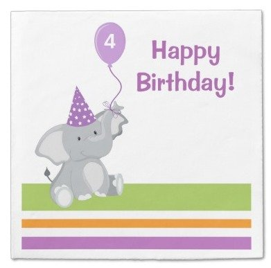 cute elephant balloon birthday paper napkins