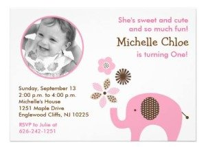 dottie pink elephant photo birthday invitations