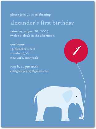 Elephant & Balloon Birthday Party Invitation