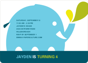 modern elephant birthday party invitation