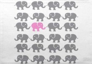 pink and grey elephant art place mats