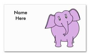 purple elephant cartoon place card