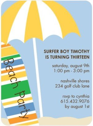 SURFER STYLE BIRTHDAY PARTY INVITATIONS