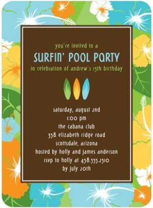 SURFER SUMMER BIRTHDAY PARTY INVITATIONS