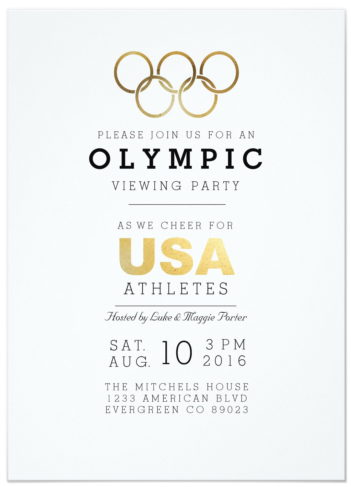 2016 Olympic Viewing Party Invitation