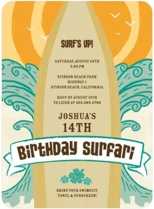 BIRTHDAY SURFARI BIRTHDAY PARTY INVITATIONS