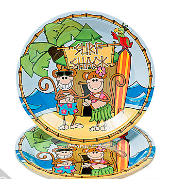 Surf Party Paper Goods. Surfs Up Tableware Beach Monkey Dinner Plates  sc 1 st  Party Idea Pros & Surf Party - Surfing Theme Party Planning Ideas u0026 Supplies ...