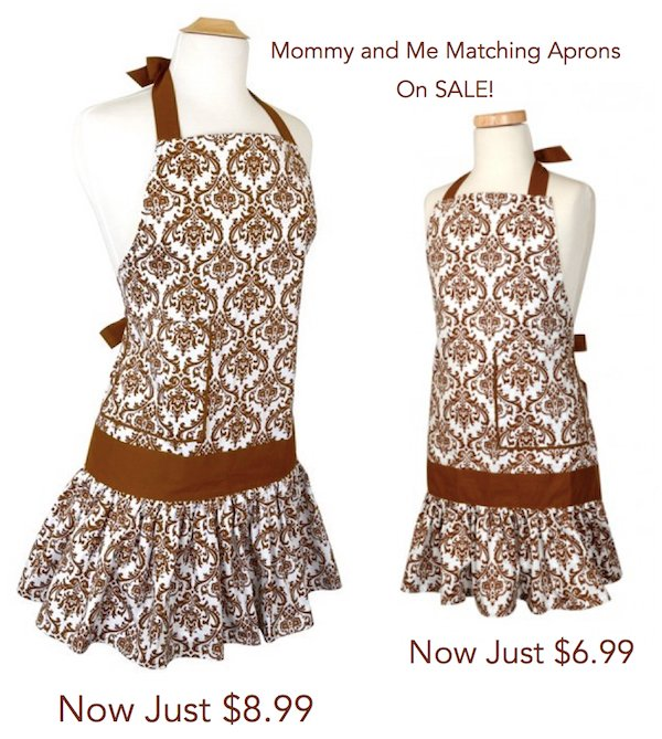 Mommy and Me Matching Brown Sadie Damask Apron, flirty aprons sale
