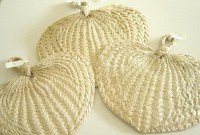 Natural Raffia Hand Fans Party Favors