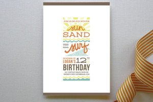 Sun, Sand + Surf Children's Birthday Party Invitations