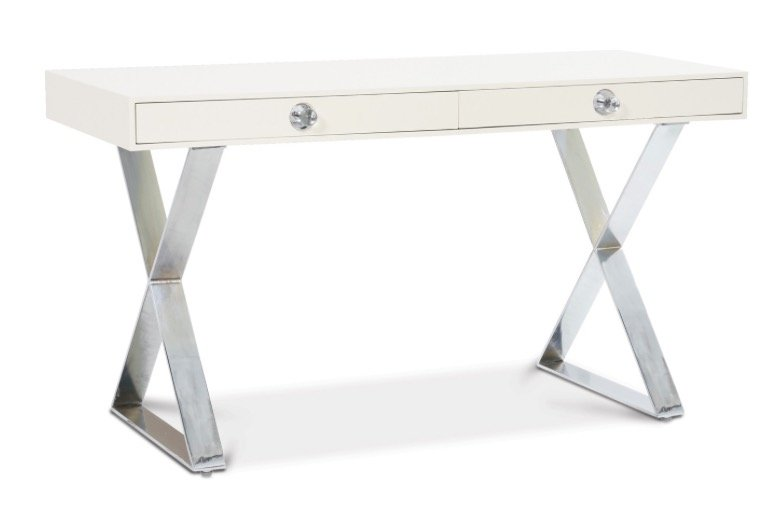 WHITE CHANNING DESK POLISHED NICKEL