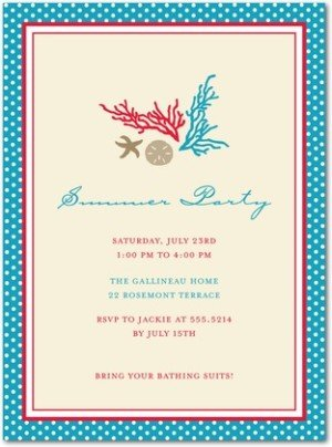 classy coral party invitations